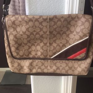 Coach brown monogram messenger/laptop bag